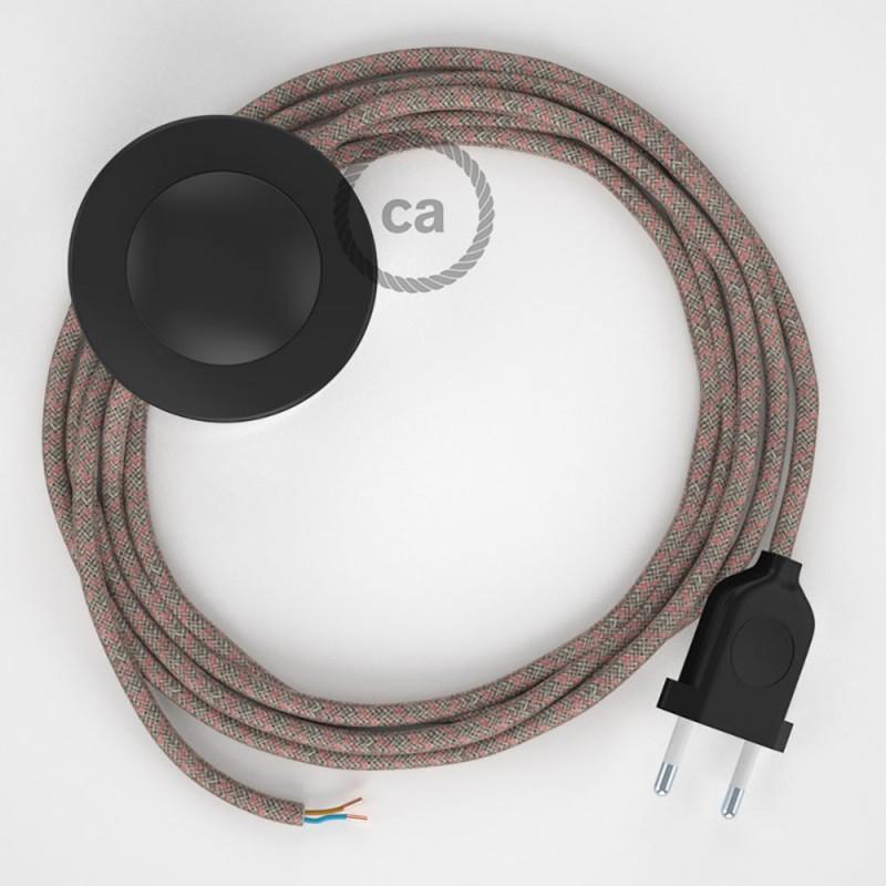 Napájací kábel pre podlahovú lampu, RD61 Kosoštvorcový staroružový bavlneno - ľanový 3 m. Vyberte si farbu zástrčky a vypínača.