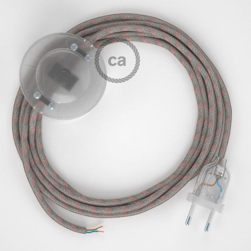 Napájací kábel pre podlahovú lampu, RD51 Prúžkovaný staroružový bavlneno - ľanový 3 m. Vyberte si farbu zástrčky a vypínača.