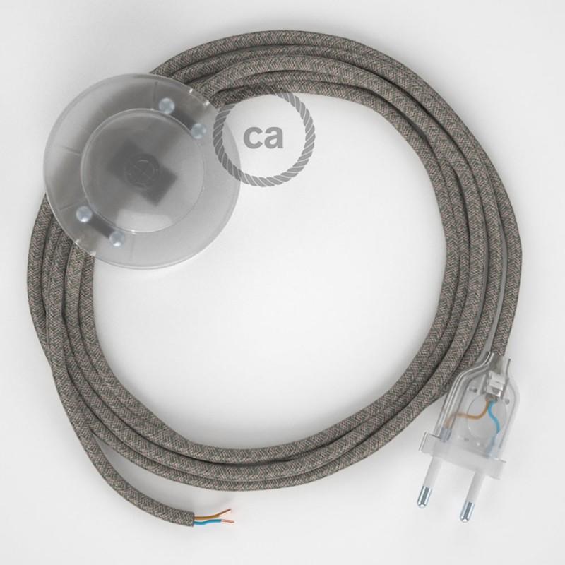 Napájací kábel pre podlahovú lampu, RD62 Kosoštvorcový tymiánový bavlneno - ľanový 3 m. Vyberte si farbu zástrčky a vypínača.