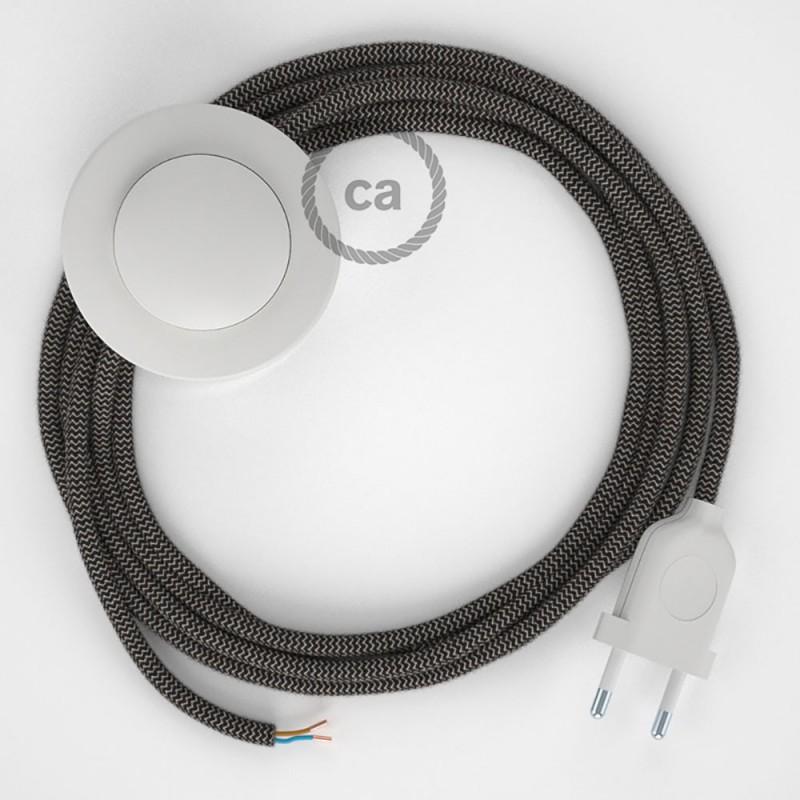 Napájací kábel pre podlahovú lampu, RD74 Cik - cak antracitový bavlneno - ľanový 3 m. Vyberte si farbu zástrčky a vypínača.
