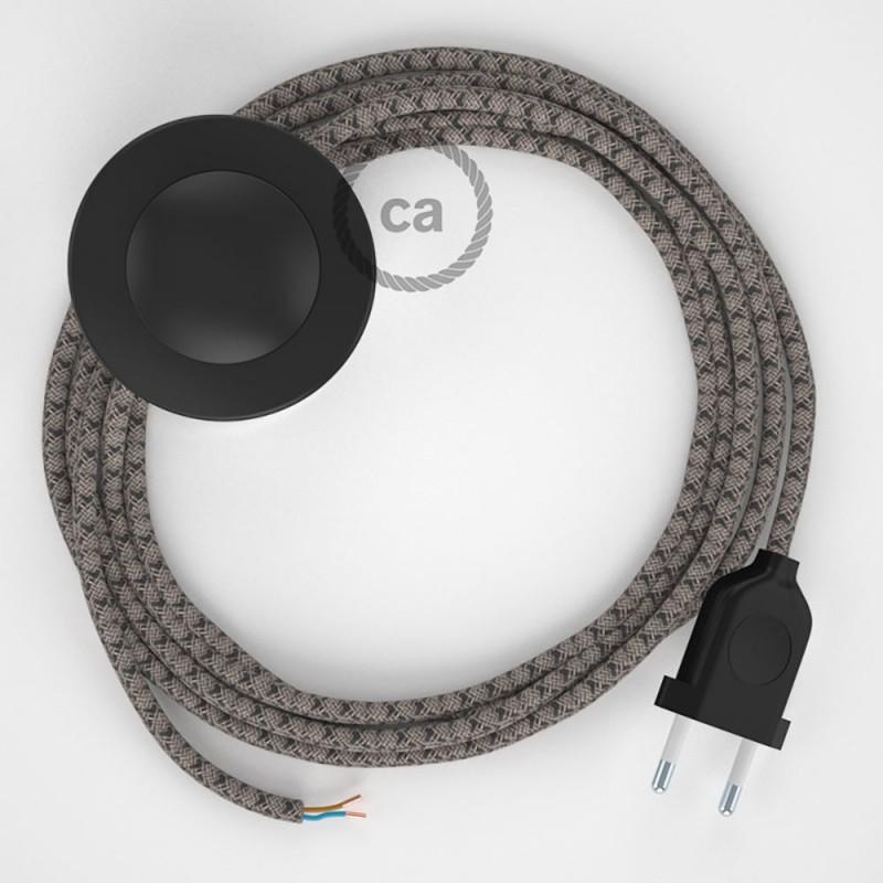Napájací kábel pre podlahovú lampu, RD64 Kosoštvorcový antracitový bavlneno - ľanový 3 m. Vyberte si farbu zástrčky a vypínača.