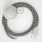 Napájací kábel pre podlahovú lampu, RD54 Prúžkovaný antracitový bavlneno - ľanový 3 m. Vyberte si farbu zástrčky a vypínača.