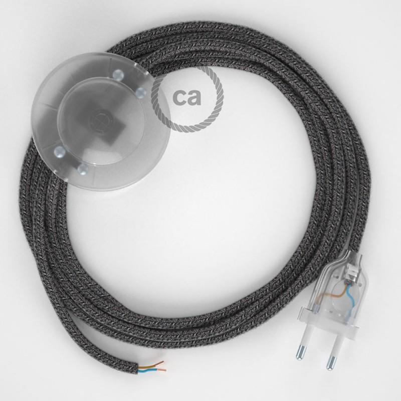 Napájací kábel pre podlahovú lampu, RS81 Čierny  bavlneno - ľanový 3 m. Vyberte si farbu zástrčky a vypínača.