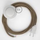 Napájací kábel pre podlahovú lampu, RS82 Hnedý bavlneno - ľanový 3 m. Vyberte si farbu zástrčky a vypínača.
