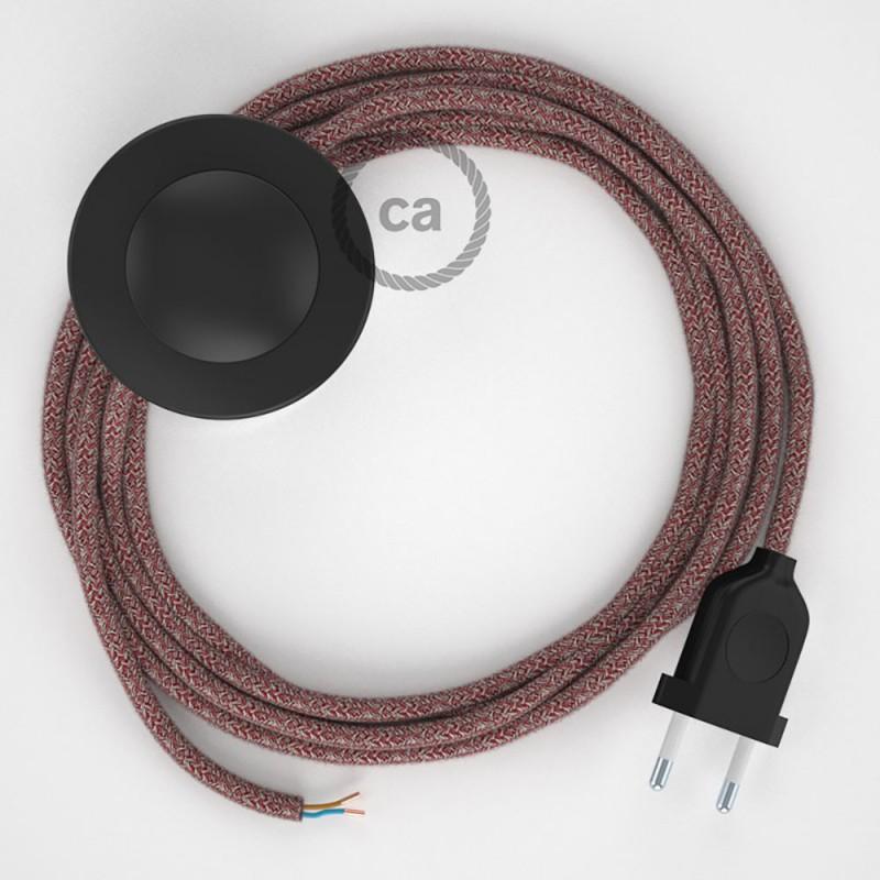 Napájací kábel pre podlahovú lampu, RS83 Červený bavlneno - ľanový 3 m. Vyberte si farbu zástrčky a vypínača.