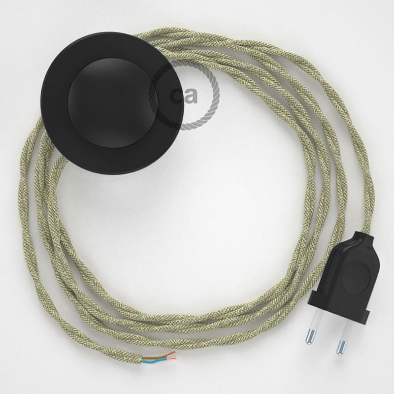 Napájací kábel pre podlahovú lampu, TN01 Prírodný ľanový 3 m. Vyberte si farbu zástrčky a vypínača.