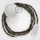 Napájací kábel pre podlahovú lampu, TN04 Hnedý ľanový 3 m. Vyberte si farbu zástrčky a vypínača.