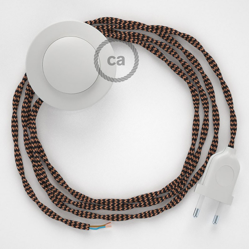 Napájací kábel pre podlahovú lampu, TZ22 Čierny a whisky hodvábny 3 m. Vyberte si farbu zástrčky a vypínača.