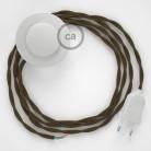 Napájací kábel pre podlahovú lampu, TC13 Hnedý bavlnený 3 m. Vyberte si farbu zástrčky a vypínača.