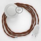 Napájací kábel pre podlahovú lampu, TC23 Jelení hnedý bavlnený 3 m. Vyberte si farbu zástrčky a vypínača.