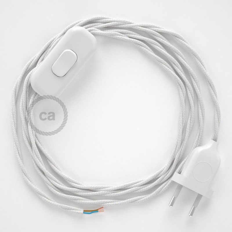 Napájací kábel pre stolnú lampu, TC01 Biely bavlnený 1,80 m. Vyberte si farbu zástrčky a vypínača.