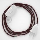 Napájací kábel pre stolnú lampu, TM19 Bordový hodvábny 1,80 m. Vyberte si farbu zástrčky a vypínača.