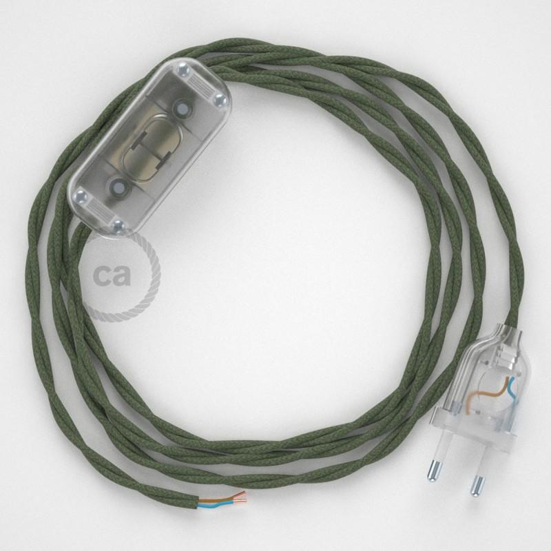 Napájací kábel pre stolnú lampu, TC63 Zeleno - šedý bavlnený 1,80 m. Vyberte si farbu zástrčky a vypínača.