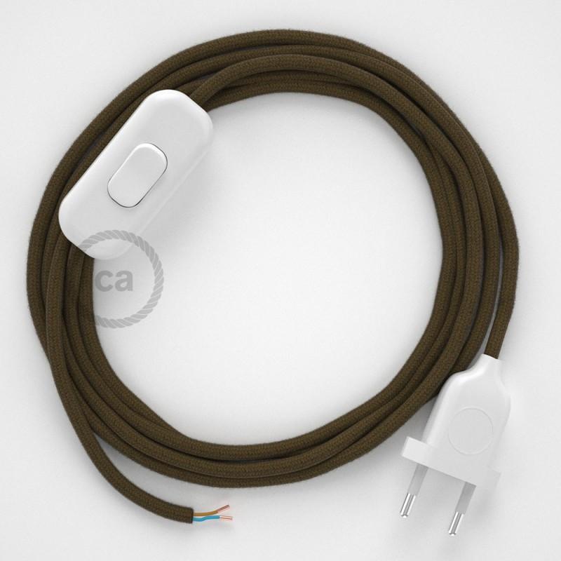 Napájací kábel pre stolnú lampu, RC13 Hnedý bavlnený 1,80 m. Vyberte si farbu zástrčky a vypínača.