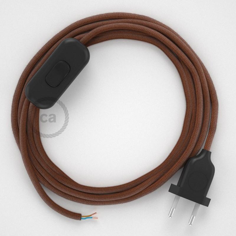 Napájací kábel pre stolnú lampu, RC23 Jelení hnedý bavlnený 1,80 m. Vyberte si farbu zástrčky a vypínača.