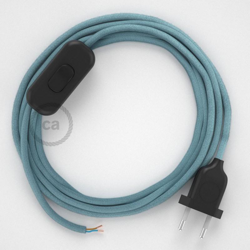 Napájací kábel pre stolnú lampu, RC53 Oceánovomodrý bavlnený 1,80 m. Vyberte si farbu zástrčky a vypínača.