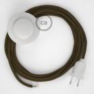 Napájací kábel pre podlahovú lampu, RC13 Hnedý bavlnený 3 m. Vyberte si farbu zástrčky a vypínača.
