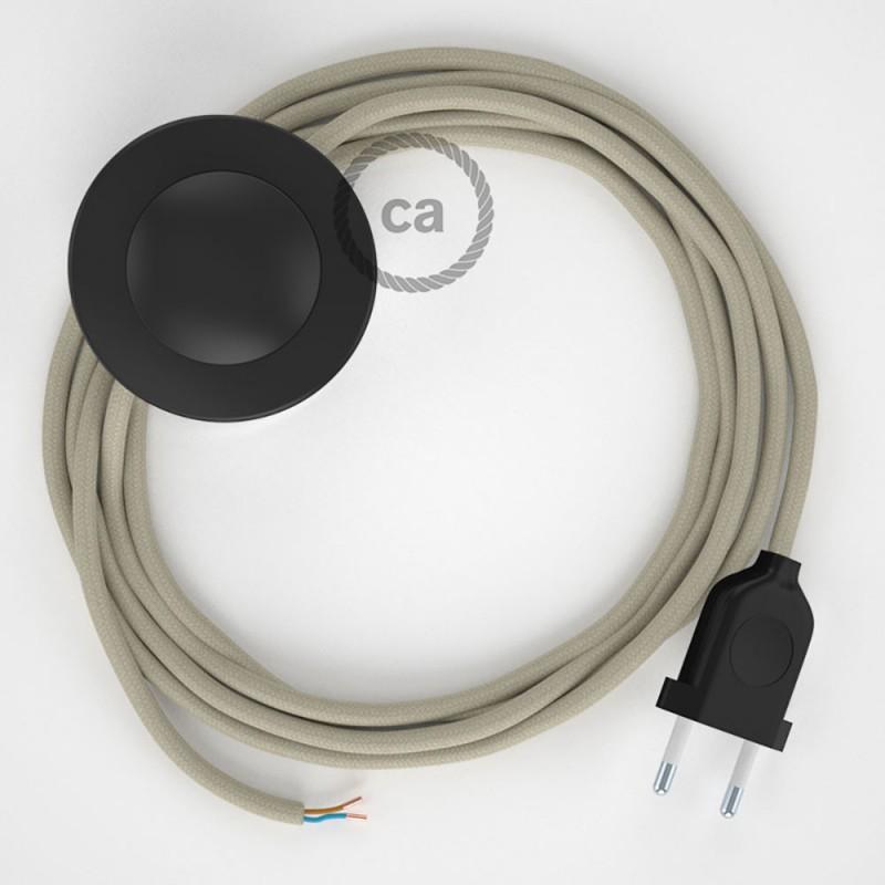 Napájací kábel pre podlahovú lampu, RC43 Holubicovo krémový bavlnený 3 m. Vyberte si farbu zástrčky a vypínača.