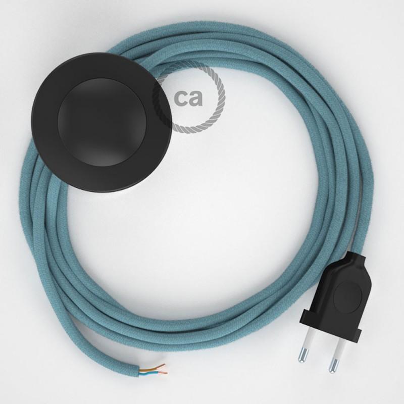 Napájací kábel pre podlahovú lampu, RC53 Oceánovomodrý bavlnený 3 m. Vyberte si farbu zástrčky a vypínača.