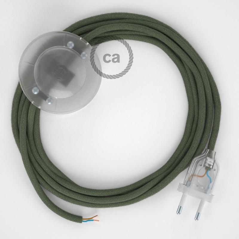 Napájací kábel pre podlahovú lampu, RC63 Zeleno - šedý bavlnený 3 m. Vyberte si farbu zástrčky a vypínača.