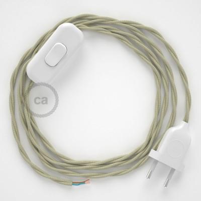 Napájací kábel pre stolnú lampu, TC43 Holubicovo krémový bavlnený 1,80 m. Vyberte si farbu zástrčky a vypínača.