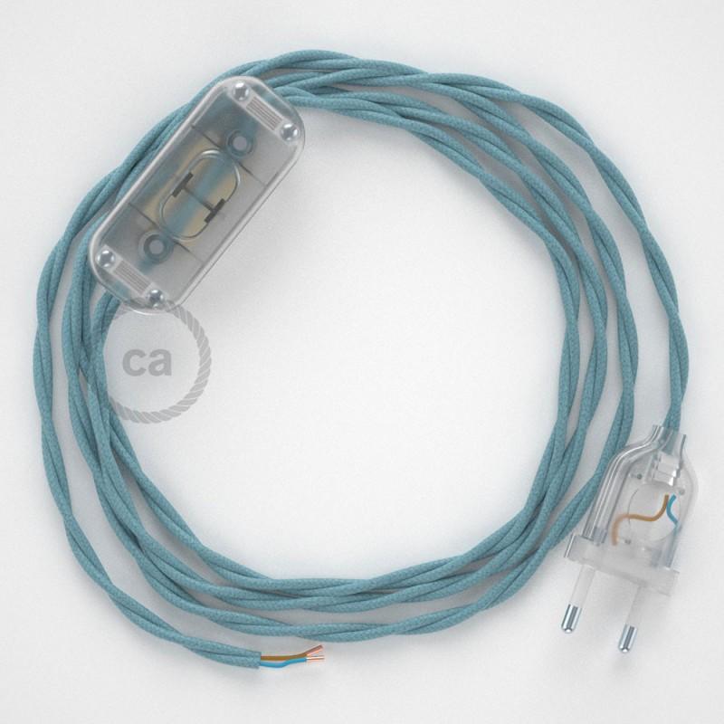 Napájací kábel pre stolnú lampu, TC53 Oceánovomodrý bavlnený 1,80 m. Vyberte si farbu zástrčky a vypínača.