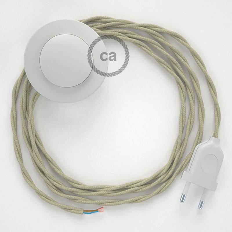 Napájací kábel pre podlahovú lampu, TC43 Holubicovo krémový bavlnený 3 m. Vyberte si farbu zástrčky a vypínača.