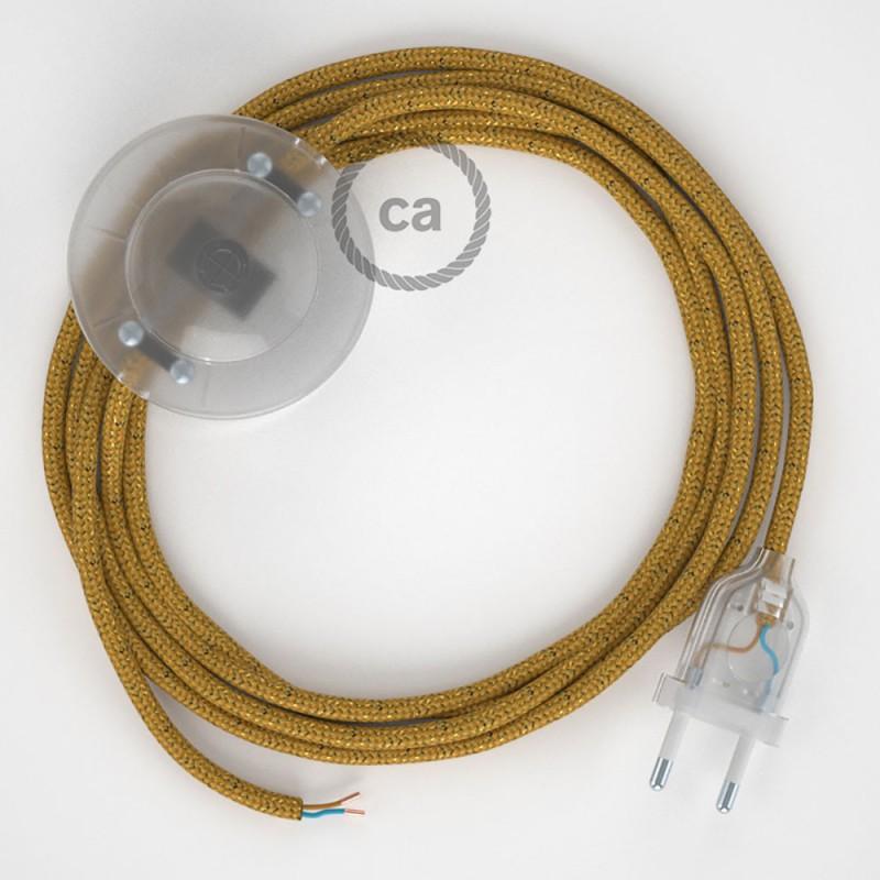 Napájací kábel pre podlahovú lampu, RL05 Zlatý hodvábny 3 m. Vyberte si farbu zástrčky a vypínača.
