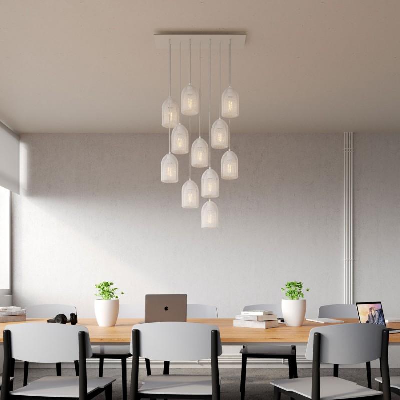 Závesná lampa s 11 svetlami, s obdĺžnikovou XXL rozetou Rose-One, textilným káblom a kovovými tienidlami Ghostbell