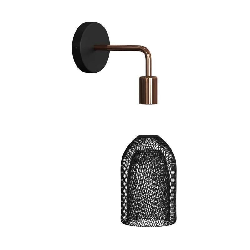 Fermaluce Urban kovové nástenné svietidlo s tienidlom Ghostbell a ohnutou predlžovacou rúrkou