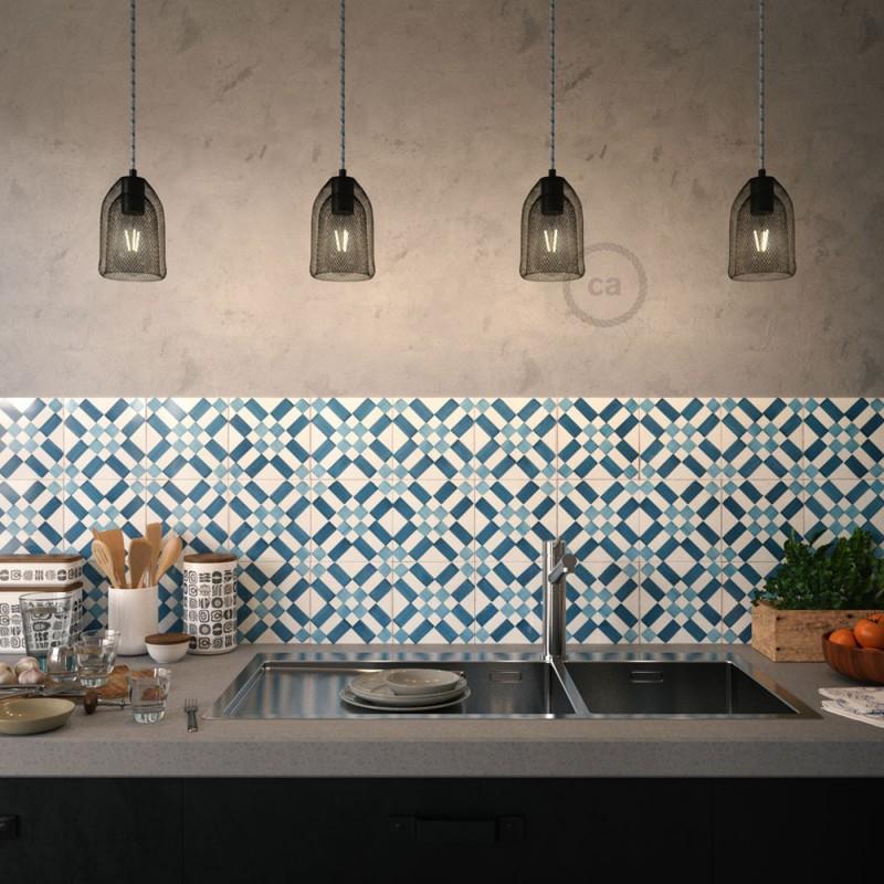 Závesná lampa s textilným káblom, tienidlom Ghostbell s kovovými detailmi – Vyrobená v Taliansku