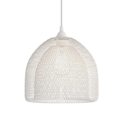 Závesná lampa s textilným káblom, tienidlom Ghostbell XL a kovovými detailmi – Vyrobená v Taliansku