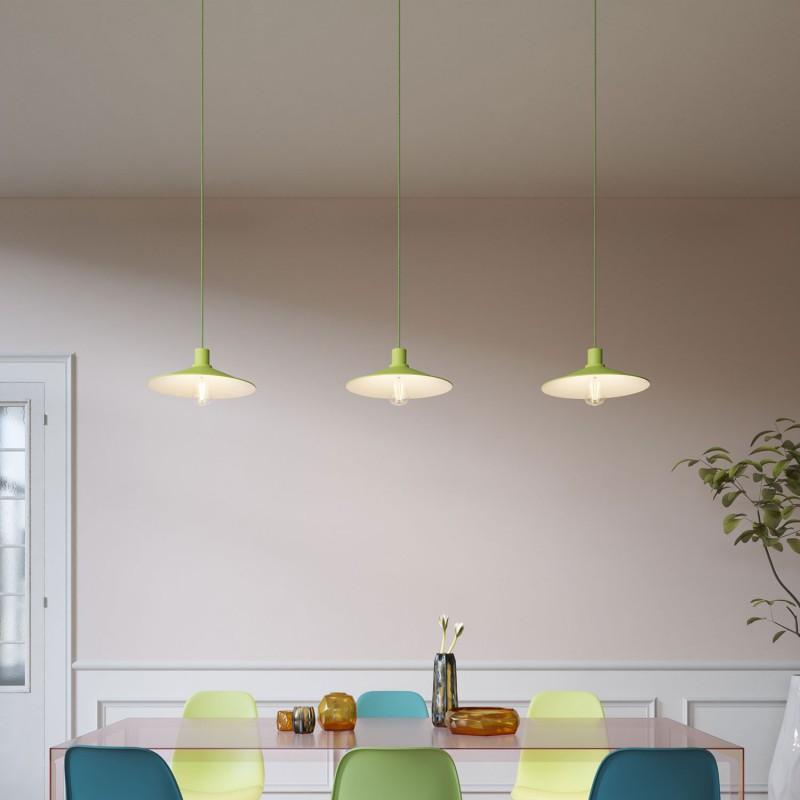 Závesná lampa s textilným káblom a pastelovým tienidlom Swing. Vyrobené v Taliansku.