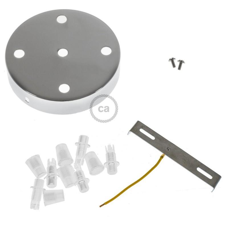 Valcová kovová stropná rozeta - 5 otvorov
