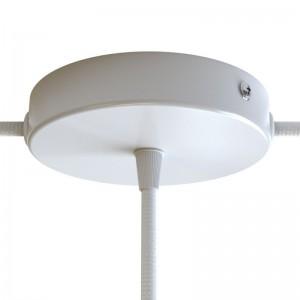 Valcová kovová stropná rozeta s jedným stredovým a 2 bočnými otvormi