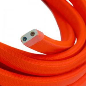 Textilný elektrický kábel pre Svetelné šnúry, potiahnutý hodvábnou textíliou CF15 Fluo Oranžová