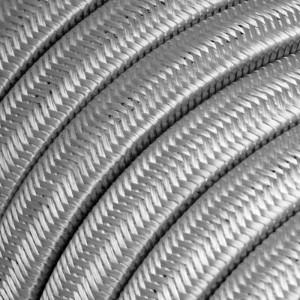 Textilný elektrický kábel pre Svetelné šnúry, potiahnutý hodvábnou textíliou CM02 Strieborná