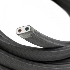 Textilný elektrický kábel pre Svetelné šnúry, potiahnutý hodvábnou textíliou CM03 Šedá