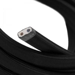 Textilný elektrický kábel pre Svetelné šnúry, potiahnutý hodvábnou textíliou CM04 Čierna