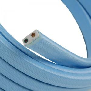 Textilný elektrický kábel pre Svetelné šnúry, potiahnutý hodvábnou textíliou CM17 Azúrová