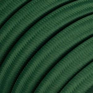 Textilný elektrický kábel pre Svetelné šnúry, potiahnutý hodvábnou textíliou CM21 Tmavo zelená