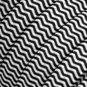 Textilný elektrický kábel pre Svetelné šnúry, potiahnutý hodvábnou textíliou CZ04 Čierno biely cik-cak