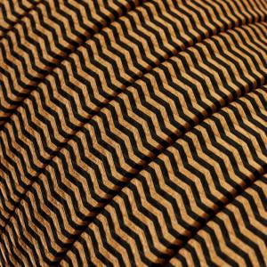 Textilný elektrický kábel pre Svetelné šnúry, potiahnutý hodvábnou textíliou CZ22 Čierny-whisky cik-cak