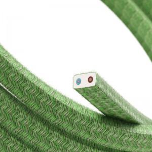 """Textilní elektrický kabel pro světelný řetěz, pokrytý bavlnou - """"zelený mix"""" CX08"""