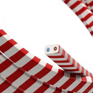 Textilní elektrický kabel pro světelný řetěz, pokrytý textilií Vertigo HD - CM39 bíle červený