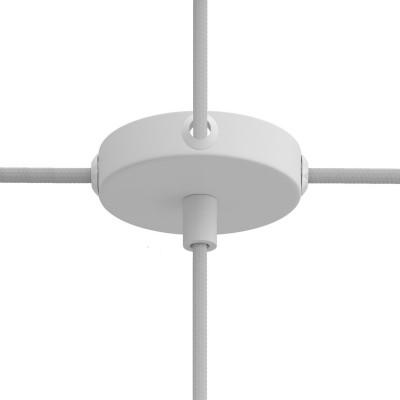 Malá valcová kovová stropná rozeta s 1 stredným a 4 bočnými otvormi