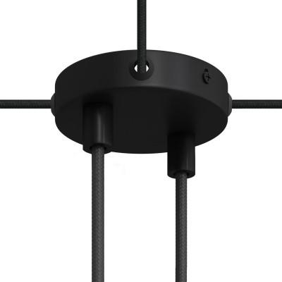 Malá valcová kovová stropná rozeta s 2 strednými a 4 bočnými otvormi