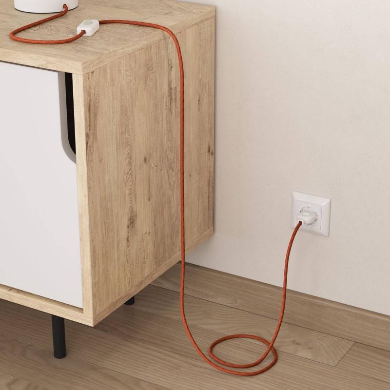 Okrúhly  textilný elektrický kábel opletený jutou RN27 oranžový