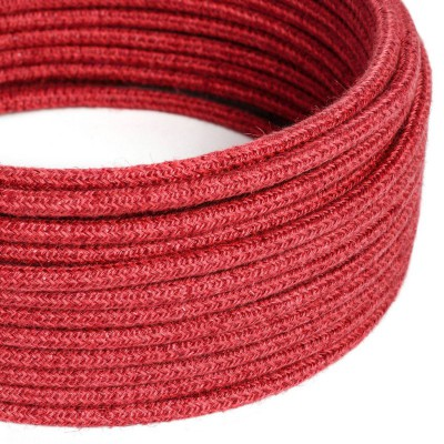 Okrúhly textilný elektrický kábel opletený jutou RN24 višňovo červený