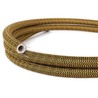 Creative-Tube: ohybná trubica potiahnutá čierno-zlatou hodvábnou tkaninou so vzorom cik-cak RZ24, priemer 20 mm